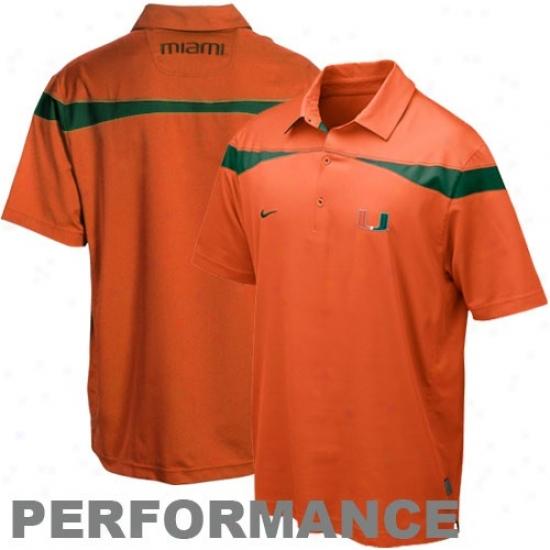 Miami Hurricanes Golf Shirts : Nike Miami Hurricanes Orange 2010 Coaches Practice Performancr Golf Shirts