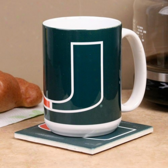 Miami Hurricanes Green 15oz. Cermaic Mug & Coaster Set