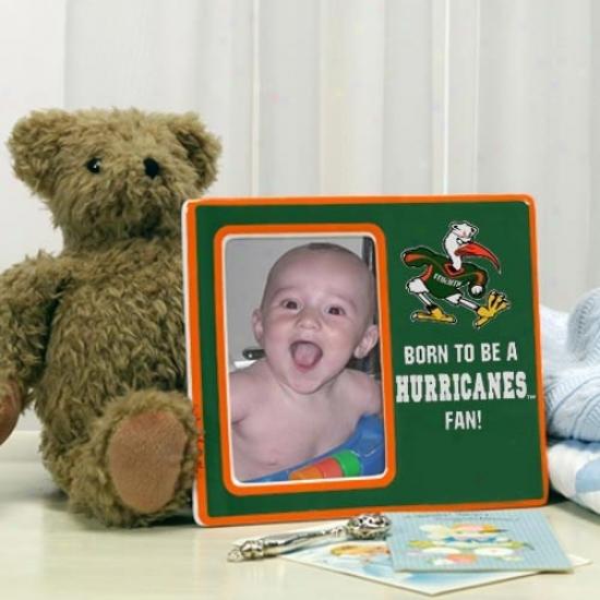 Miami Hurricanes Green Born To Be Ceramic Picture Frame