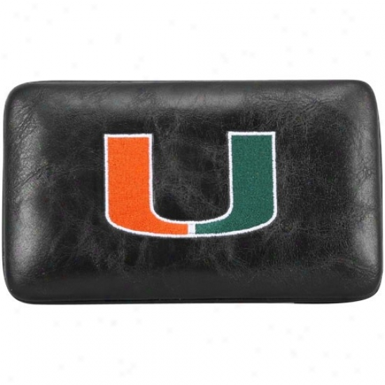 Miami Hurricanes Ladies Black Embroidered Flat Wallet