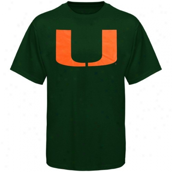 Miami Hurricanes T Shirt : Miami Hurricanes Green Logo One T Shirt
