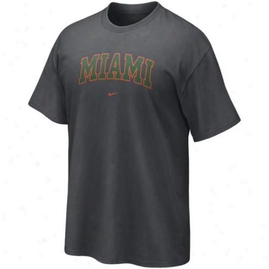 Miami Hurricanes Tee : Nike Miami Hurricanes Charcoal Seasonal Arch Tee
