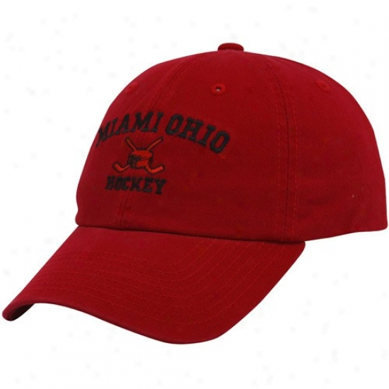 Miami Univeersity Redhawks Gear: Top Of The World Miami University Redhawks Red Hockey Sport Be~ Adjustable Hat