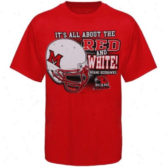 Miami University Redhawks T-shirt : Miami University Redhawks Red All About Red & White T-shirt