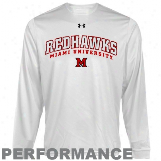 Miami University Redhawks T Shirt : Under Armour Miami University Redhawks White Heatgear Trakning Performance Long Sleeve T Shirt