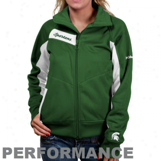 Michigan State Spartans Jackets : Columbia Michigan State Spartans Ladies Green-white Velocity Trackster Full Zip Performance Jackets