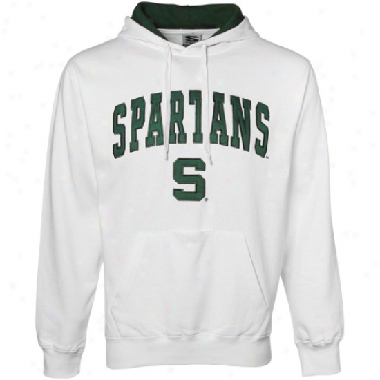 Michigan State Spartans Sweatshirts : Michigan State Spartans White Classic Twill Sweatshirts