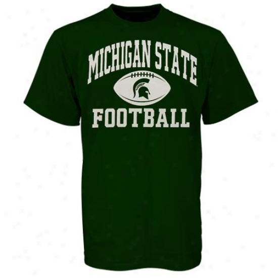 Michigan State T-shirt : Michigan State Green Old School Football T-shirt