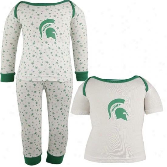 Michigan State T Shirt : Michigan State White Infant Three-piece Sleep Set