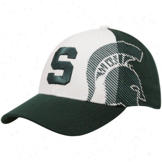 Michigan State University Hats : Top Of The World Michigan State University Green-white Sideline 1-fit Flex Hats