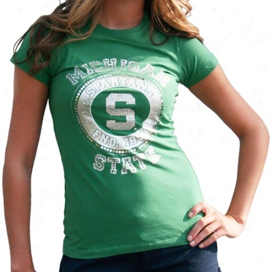 Michigan State University T Shirt : Michigan State University Ladies Green Kimberly Premium T Shirt