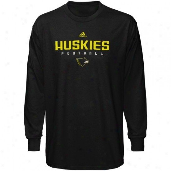 Michigan Tech Huskies Shirt : Adidas Michigan Tech Husoies Black Sideline Long Sleeve Shirt