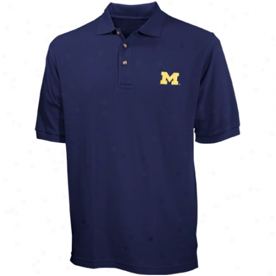 Michigan Wolfrine Polos : Michigan Wolverine Navy Solid Pique Polos