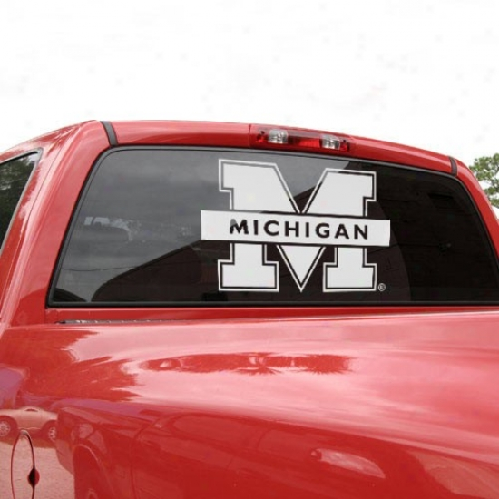 Michigan Wolverines 18'' X 18' 'White Logo Decal