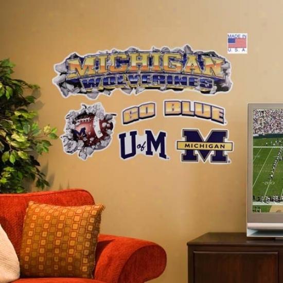 Michigan Wolverines 2' Multi-logo Wall Crasher