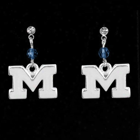 Michigan Wolverines Crystal Earrings