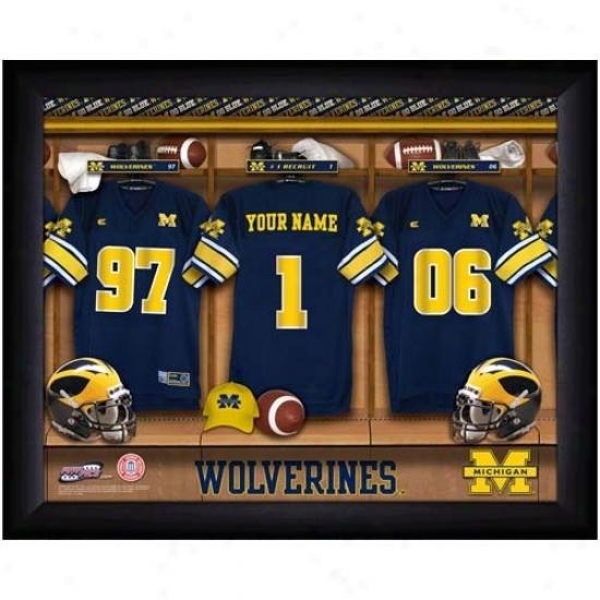 Michigan Wolverines Customized Locker Room Dark Frame Photo