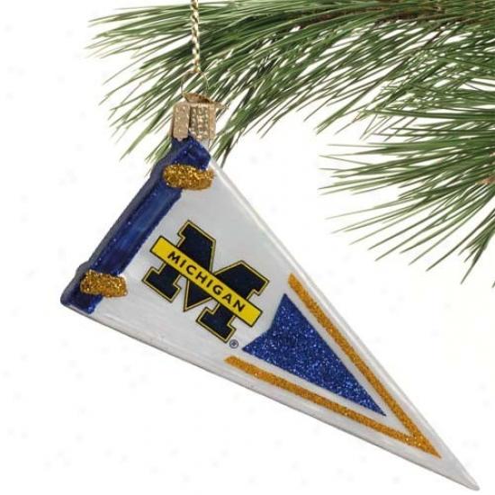 Michigan Wolverines Glass Penjant Ornament