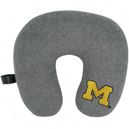 Michigan Wolverines Gray Travel Pillow