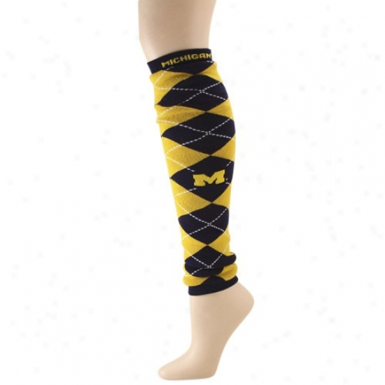 Michigan Wolverines Ladiws Maize-navy Azure 20'' Argyle Leg/arm Warmers