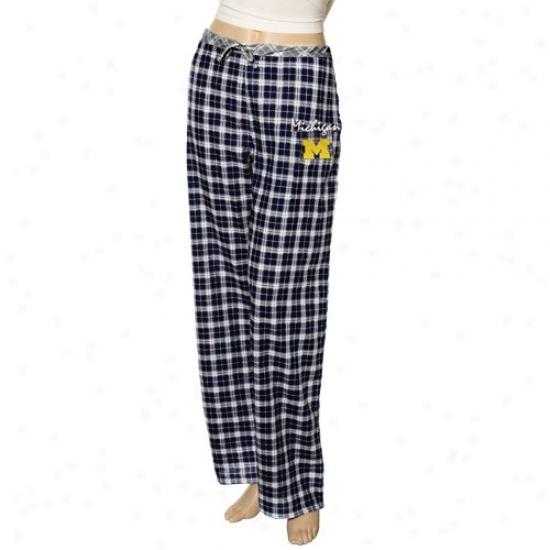 Michigan Wolverines Ladies Navy Blue Plaid Heritage Woven Pajama Pants