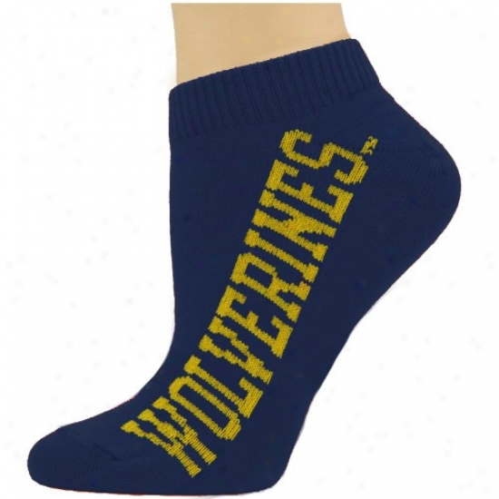 Michigan Wolverines Ladies Navy Blue Team Name Ankle Socks