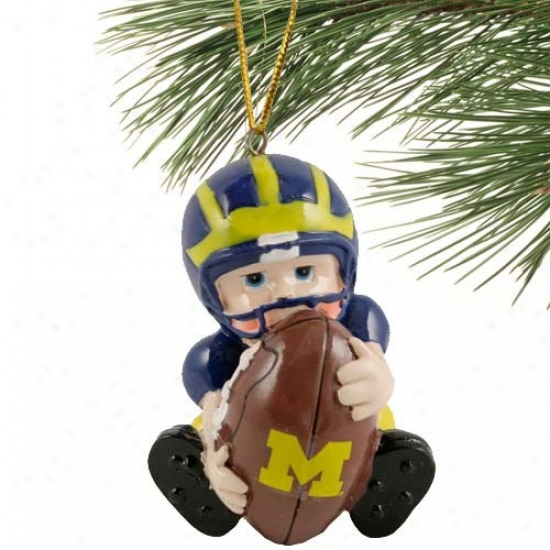Michigan Wolverines Lil' Fan Football Player Acrylic Ornament