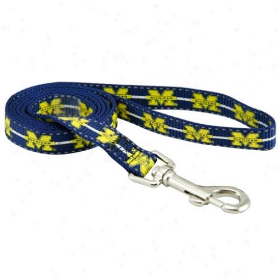 Michigan Wolverines Navy Blue Large Pet Leash