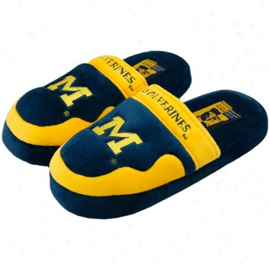 Michigan Wolverines Navy Blue Scuff Slippers