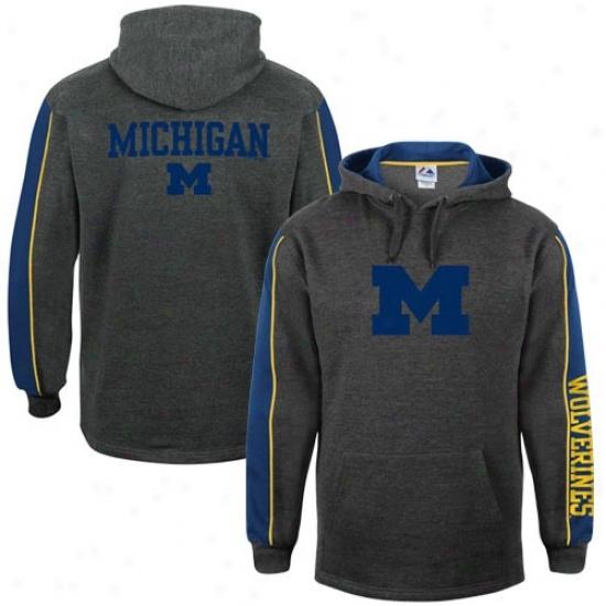 Michigan Wolverines Sweatshirt : Majestic Michigan Wolverines  Charcoal Gridiron Sweatshirt