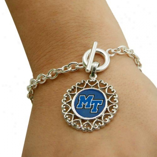 Middle Tennessee State Blue Raiders Round Disposition Art Nouveau-styl Toggle Bracelet