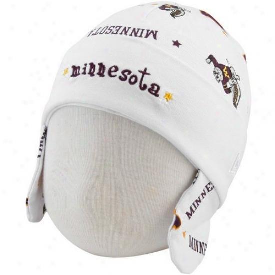 Mjnnesota Golden Gophers Gear: New Efa Minnesota Golden Gophers Infaht White Ski Knit Baby Beanie