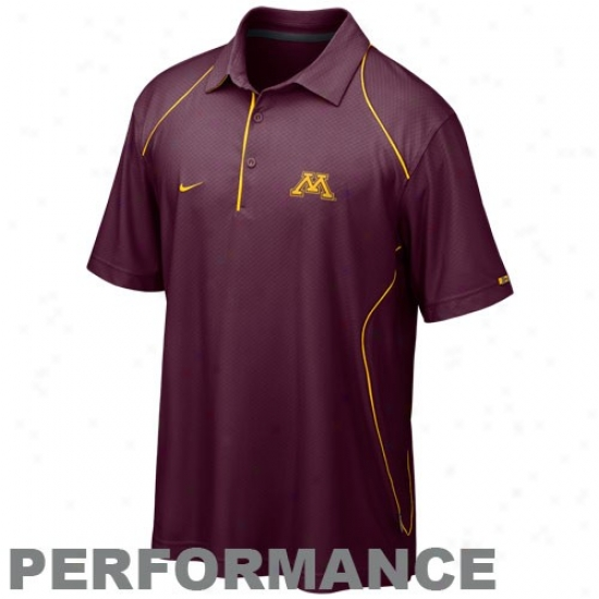 Minneslta Golden Gkphers Golf Shirt : Nike Minnesota Golden Gophers Maroon 2010 Snap Count Coaches Sideline Performance Golf Shirt