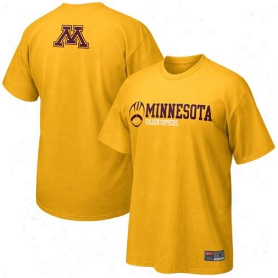 Minnesota Yellow Gophers Shirts : Nike Minnesota Golden Gophers Gold Practice Shirts