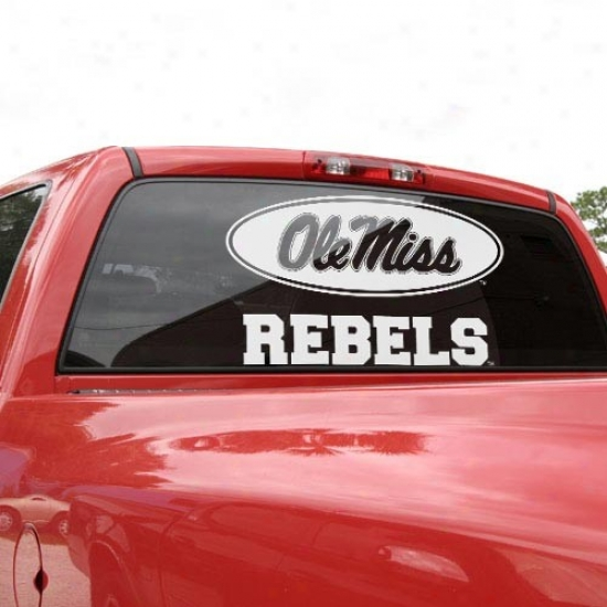 Mossissippi Rebels 18'' X 18'' White Logo Decal