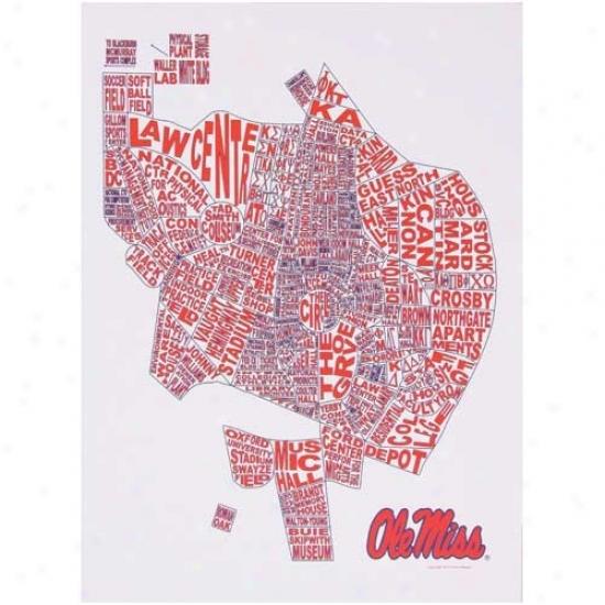 Mississippi Rebels Campus Word Cloud 11'' X 14'' Art Print