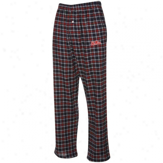 Mississippi Rebels Cardinaal-navy Blue Plaid Match-up Flannel Pajama Pants