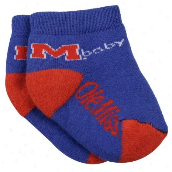 Mississippi Rebels Infant Royal Blue-red Team Logo Bootie Socks