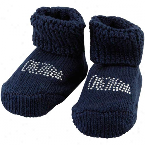 Mississippi Rebels Newborn Navy Blue Rhinestone Gift Box Booties