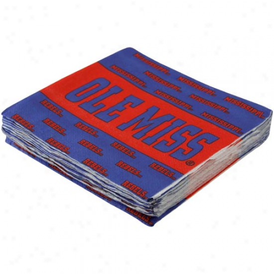 Mississippi Rebels Royal Blue-cardinal 25-pack Beverage Napkins
