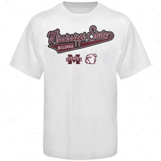 Mississippi National Bulldogs Apparel: Mississippi State Bulldogs Juvenility White Slant Script T-shirt