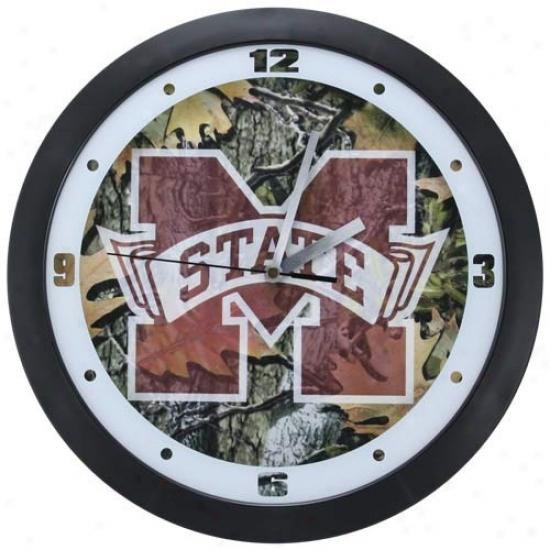 Mississippi State Bulldogs Camo Wall Dimension Clock