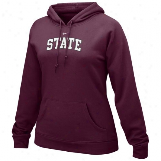 Mississippi State Bulldogs Hoodie : Nike Missisippi State Bulldogs Ladies Maroon Arch Lettering Hoodie Hoodie