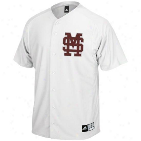 Mississippi State Bullddogs Jerseys : Adidas Mississippi Express  Bulldogs Whie Baseball Jerseys