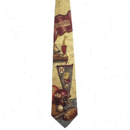 Mississippi State Bulldogs Nostalgia 2 Silk Tie