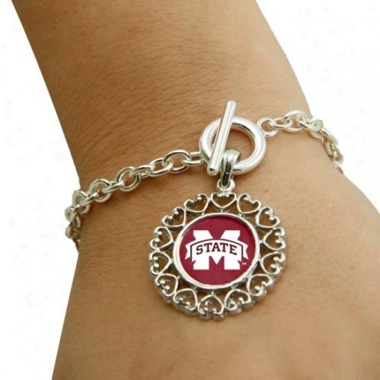 Missisaippi State Bulldogs Roudn Heart Art Nouveau-style Toggle Bracelet
