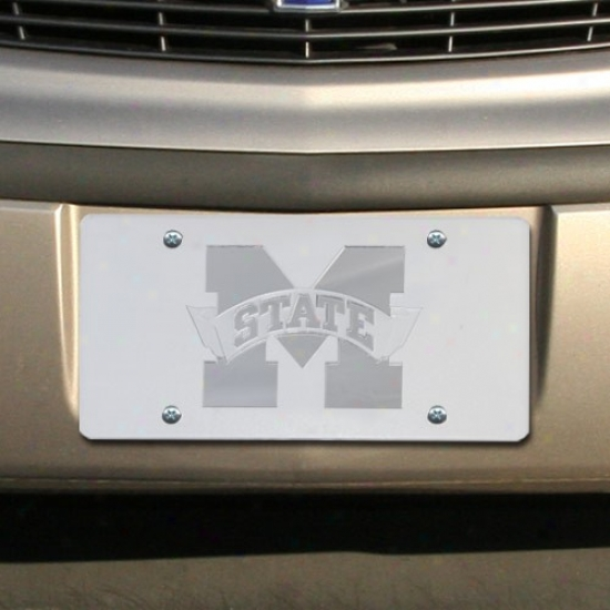 Mississippi State Bulldogs Satin Mirrored Team Logo License Plate
