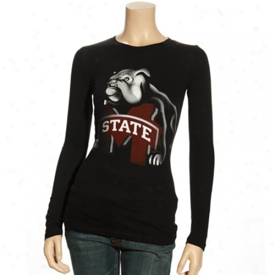 Mississippi State Bulldogs Shirt : Mississippi Express  Bulldogs Ladies Black Blackout Long Sleeve Shirt