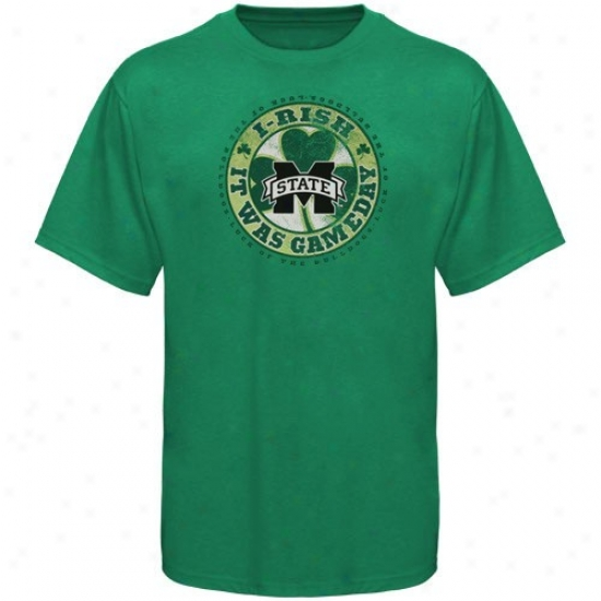 Mississippi State Bulldogs Shirt : Mississippi State Bulldogs Kelly Green I-rish Gameday Shirt