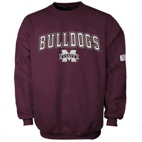 Mississippi State Bulldogs Sweat Shirt : Mississippi State Bulldogz Maroon Automatic Crew Sweat Shirt